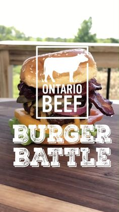 Zimmy's Signature Burger. Ontario Beef, roasted garlic & charred jalapeño patties, grilled, then topped with 5 year old cheddar, smoked Gouda, marinated onions, heirloom tomatoes, lettuce, spicy pickles, sweet & smokey mustard and Beef bacon! 🍔🥓🔥 @OntBeef invited us to participate in their #OntBeefBurgerBattle to create the ultimate #craveable burger using Ontario Beef and local ingredients! How do you think we did? #OntarioBeef Beef Bacon, Pork Ham, Spicy Pickles, Summer Grilling Recipes, Smoked Gouda, Beef Burgers, Heirloom Tomatoes, Backyard Bbq, Summer Bbq