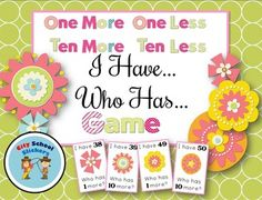 Spring: Free I Have Who Has GameThis is a great game to have kids mentally figure out 2 digit numbers that are 10 less, 10 more, 1 less or 1 more.  There are 49 cards, so each child can get  two or more cards (or, to make it less challenging, give each child one card).