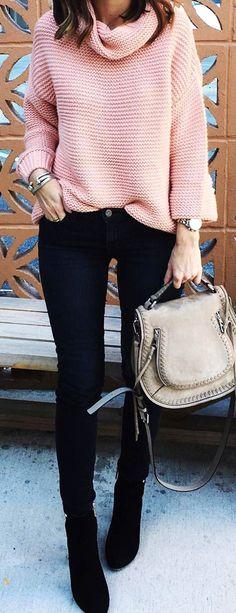 #winter #fashion /  Pink Wool Knit / Black Skinny Jeans / Black Boots