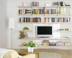 elfa decor solid shelving. as entertainment center