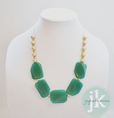 Emerald Green Statement Necklace,  Green and Gold by JoyKatharine, IN STOCK!! READY TO SHIP!! www.joykatharine.etsy.com