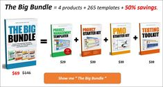 The Big Bundle = 4 products + 265 templates + 50% savings You will get 4 products as part of this bundle - Project Management Templates, Project Starter Kit, PMO Starter Kit and Testing Tool Kit. Also, get 25% discount on all our future products ! Statement Of Work, Project Dashboard, Capacity Planning, Kpi Dashboard, Project Charter, Project Status Report, Test Plan, Project Management Templates, Techno