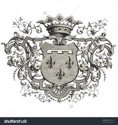 Find Coat Arms Vintage Engraved Illustration Les stock images in HD and millions of other royalty-free stock photos, illustrations and vectors in the Shutterstock collection. Images Vintage, Engraving Illustration, Printable Pictures, Vinyl Paper, Ornaments Design, Vintage Embroidery, French Art, Coat Of Arms, Chicano
