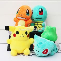 6'' 15cm 4pcs/set Pokemon Pikachu Bulbasaur Squirtle Charmander Soft Stuffed Plush Toys Doll For Kids Gift