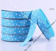 50yard 25mm Blue Heart Polyester Fiber Craft Ribbon Cord