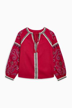 Buy Red Embroidered Top מנקסט ישראל