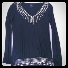 Beautiful black lightweight top with silver studs Beautiful black lightweight top with silver studs along v-neck and along bottom.   Sleeves have elastic gathering at wrists. Brand New Condition.  Size S Rain Tops