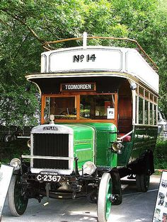 https://flic.kr/p/59sExL | Todmorden 14 - 1921 Leyland G Phoenix C2367 front * | This bus was delivered new to Todmorden Corporation in 1921, with the body built in Todmorden by Sutcliffe Bros. It is a Model G Leyland chassis, which was a typical War Office Class A Subsidy and idnetical to the thousands of Leylands built during WW1. One of the Mike Sutcliffe collection seen at the Leylands at Crich event on 13th July 2008.