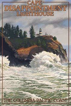 The Columbia-Pacific Coast, Washington - Cape Disappointment Lighthouse Giclee Gallery Print, Wall Decor Travel Poster) ** Check this awesome image : Kitchen Table Linens Oregon Coast, Pacific Coast, Pacific Northwest, Lighthouse Photos, Lighthouse Art, National Park Posters, National Parks, Vintage Travel Posters, Poster Vintage