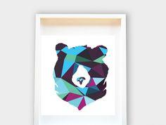 Ours géométrique, Art Nursery, chambre d'enfants, baby shower 8x10 cadeau
