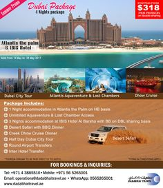 Dubai Summer Package, special promo, includes hotel stay, Aquaventure Waterpark acess and land packages.