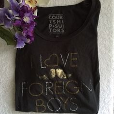 PacSun- love Foreign Boys shirt 3/4 shirt form fitted PacSun Tops