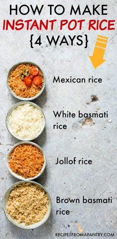 Do you want to make PERFECT Instant Pot rice? Let me show you how with four awesome Instant Pot rice recipes: Instant Pot White Rice, Instant Pot Brown Rice, Instant Pot Jollof Rice and Instant Pot Mexican Rice. All pressure cooker rice recipes are vegan and gluten-free! #instantpotrice #instantpotricerecipes #instantpot #instantpotrecipes #instantpotwhiterice #instantpotbrownrice #instantpotjollofrice #instantpotmexicanrice via @recipespantry