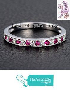 Pave Moissanite Ruby Wedding Band Half Eternity Anniversary Ring 14K White Gold Milgrain from the Lord of Gem Rings https://www.amazon.com/dp/B01IDOPV6M/ref=hnd_sw_r_pi_dp_ldRHxbP9XEB1P #handmadeatamazon