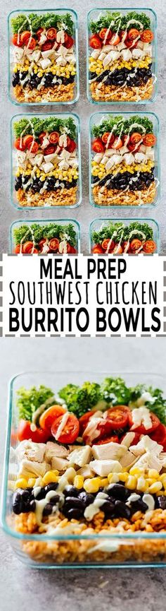 Meal Prep Southwest Chicken Burrito Bowls is part of Chicken meal prep - Meal Prep Chicken Burrito Bowls! Gluten free and great for taking onthego! These burrito bowls are super versatile and are packed full of goodness Healthy Meal Prep, Healthy Snacks, Healthy Eating, Easy Lunch Meal Prep, Weekly Meal Prep, Healthy Cold Lunches, Lunch Foods, Breakfast Healthy, Healthy Recipes For Weight Loss