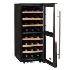 "Amazon.com: Koldfront 24 Bottle Free Standing Dual Zone Wine Cooler - Black and Stainless Steel: Kitchen & Dining Dimensions: 33.5"" H x 14"" W x 22.25"" D"