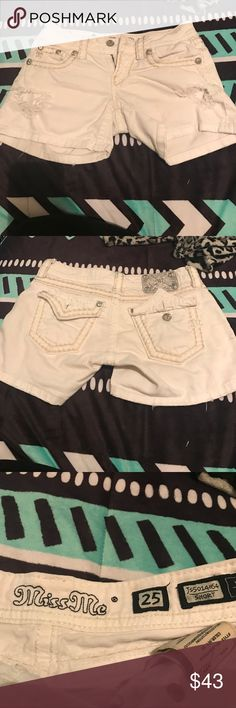 White shorts White denim shorts by Miss Me. Slightly worn but still look great. No stains. Size is a 25 Miss Me Shorts Jean Shorts