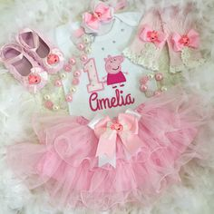 Peppa Pig inspired Birthday outfit Set price include Top( number, name,design )matching skirt,necklace and bracelet .You get matching headband or bow for free!! ***Ocassionally embellishments, and ribbon may vary due to availability, but substitutions will be of eaqual or