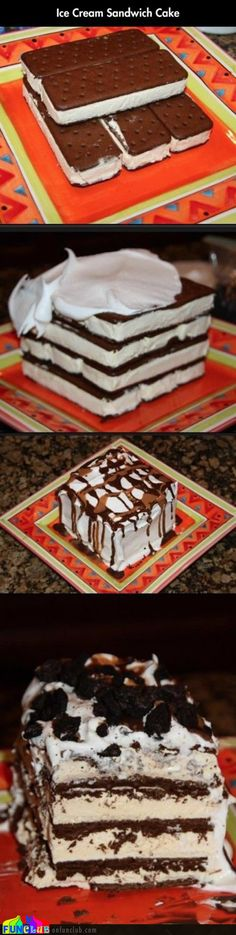 Ice cream sandwich cake The ultimate ice cream sandwich cake.  http://onfunzone.com/funny-pictures/cool/ice-cream-sandwich-cake/