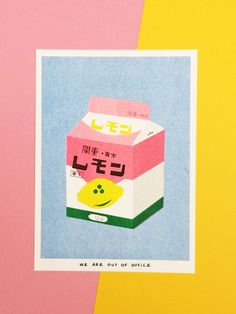A risograph print of a box of lemon milk Every print is slightly different because of this technique which makes every print unique. It is designed and printed by ourselves in our studio. Printed with soy ink 6 colors Biotop 300g 13 X 18 cm This print we ship without T&T, for prices with please contact us! We ship worldwide