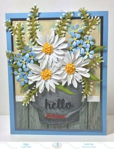 Hi everyone, Welcome to our Design Team Focus on New Release for Susan's Garden. Today Elizabeth Craft Designs are blossoming into summer by releasing 14 new die sets from Susan's Garde… Diy Flowers, Paper Flowers, Elizabeth Craft Designs, Daisy, Flower Cards, Vintage Cards, Design Crafts, Pattern Paper, Homemade Cards