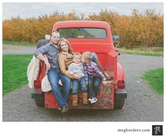 family pose - truck - meg borders photography