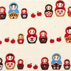 Amazon.com: beige Kokka oxford fabric with matryoshka doll & apple (per 0.5m multiple): Home & Kitchen