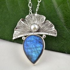 Labradorite Pendant - Ginkgo Leaf Necklace - Metalsmith Artisan Jewelry