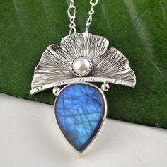 Labradorite Pendant - Ginkgo Leaf Necklace - Metalsmith Artisan Jewelry