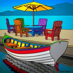 Items similar to Graham Herbert, A Spot of Shade, Giclée on Canvas, on Etsy pieces) Colorful Paintings, Watercolor Paintings, Boat Art, Arte Pop, Naive Art, Whimsical Art, Landscape Art, Art Pictures, Art Drawings