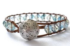 "Wildflower single wrap leather bracelet ""Light Blue and Crystal"", beachy, boho chic, bohemian bracelet"