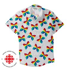 """""""Created in 1966 by Hubert Tison, the CBC/Radio-Canada rainbow butterfly logo was unveiled with the introduction of colour TV"""" Butterfly Logo, Rainbow Butterfly, Button Shirts, Button Down Shirt, Men Casual, Canada, Colour, Tv, Mens Tops"""