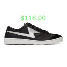 $118.00 Low-top buffed calfskin sneakers in black. Tonal suede trim at round toe. Tonal lace-up closure. Logo embossed at padded tongue. Graphic applique in silver-tone at sides. Treaded rubber sole in white featuring logo embossed at outer heel.Supplier color: Black #luxuryfashion #luxuryfashiontrends #luxurybrandfashion Baskets, Suede, Luxury Fashion, Applique, Lace Up, Sneakers, Color Black, Heel, Closure