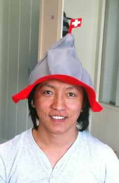 "Swiss Fan at the Lauberhorn race with a ""MATTERHORN"" hat"