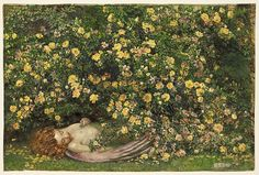 June is Dead, 1915  Eleanor Fortescue-Brickdale,  © Trustees of the Royal Watercolour Society. Can be seen at Watts Gallery's new exhibition: A Pre-Raphaelite Journey: Eleanor Fortescue-Brickdale. 5 February - 9 June 2013