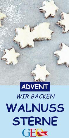 Wir backen leckere Walnuss-Sterne. Das Rezept findet ihr bei uns! #backen #kekse #plätzchen #lecker Wal, Food, Recipes For Children, Cookie Recipes, Stars, Backen, Meal, Eten, Meals