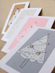looks super easy which might be nice if you& short on time: Doily Christmas tree cards Christmas Tree Cards, Christmas Makes, Elegant Christmas, Xmas Tree, Simple Christmas, Tarjetas Diy, Christmas Crafts, Christmas Decorations, Navidad Diy