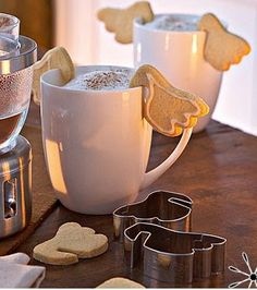 Angel wing cookie cutters to hook cookies to the side of a juice glass or coffee mug or wine glass.......