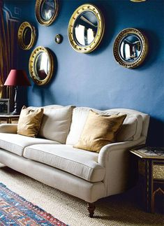 Use saturated colors to bring drama to your space. #decor #blue #ribbons