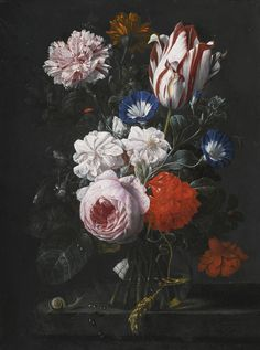 Nicolaes van Veerendael | Still Life with a Tulip, a Rose, a Carnation and Other Flowers in a Glass Vase, on a Stone Ledge,