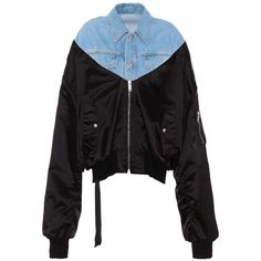 Unravel Hybrid Denim and Bomber Jacket (6,055 SAR) ❤ liked on Polyvore featuring outerwear, jackets, black, denim bomber jacket, bomber jackets, bomber style jacket, flight jackets and blouson jacket