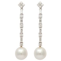 Shop diamond and pearl dangle earrings and other vintage and antique earrings from the world's best jewelry dealers. Diamond Drop Earrings, Pearl Stud Earrings, Pearl Diamond, Pearl Jewelry, Bride Earrings, Antique Earrings, Jewelry Accessories, Jewelry Design