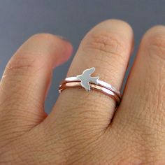 Sterling Silver Sparrow Stack Ring And One Rose by LittleGreenRoom, $29.00