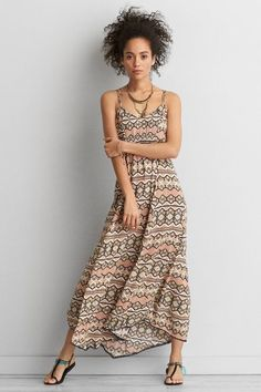 American Eagle Outfitters AEO Handkerchief Hem Maxi Dress