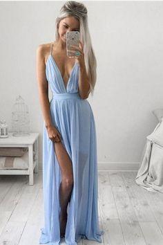 Simple Prom Dress Blue Long Prom Dresses Cheap Prom Dresses