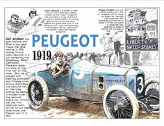 1919 Indy 500 winner Howdy Wilcox in the Peugeot race car.
