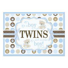 Azul gêmeo do chá de fraldas do urso de ursinho convite 12.7 x 17.78cm