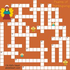 Psalms of Thanksgiving! Printable Crossword Puzzle for kids bible study.