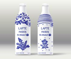 """DeAlbalact is a brand of Albalact (a Romanian dairy producer) rooted in tradition. This was a proposal for changing the brand while keeping the """"roots"""" direction: """"Dairy from Tara Motilor"""". Proposal, Vodka Bottle, Packaging Design, Packing, Drinks, Dairy, Behance, Agriculture, Milk"""