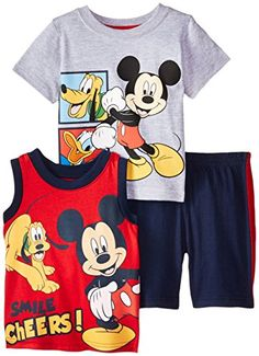 Disney Baby-Boys Infant 3 Piece Mickey Short Set, Gray, 18 Months - Your little boy can chose between a short sleeve or a sleeveess tee to go along with his matching short  - http://ehowsuperstore.com/bestbrandsales/clothing/disney-baby-boys-infant-3-piece-mickey-short-set-gray-18-months